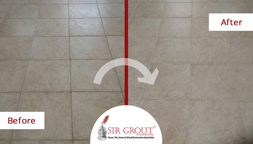 Grout Recoloring Spruces Up Stone Tile Floor in Naples, Florida