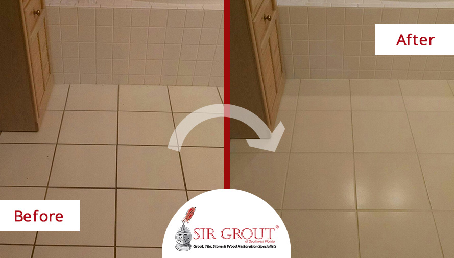 Grout Sealing Job Gives A Makeover To This Master Bathroom In Fort Myers Florida