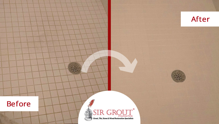 Before & After Shower Grout Sealing in Fort Myers, FL