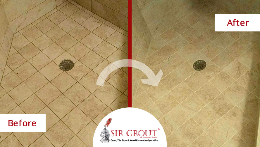 This Shower in Naples FL Looks Bright and Refreshed After a Grout ...