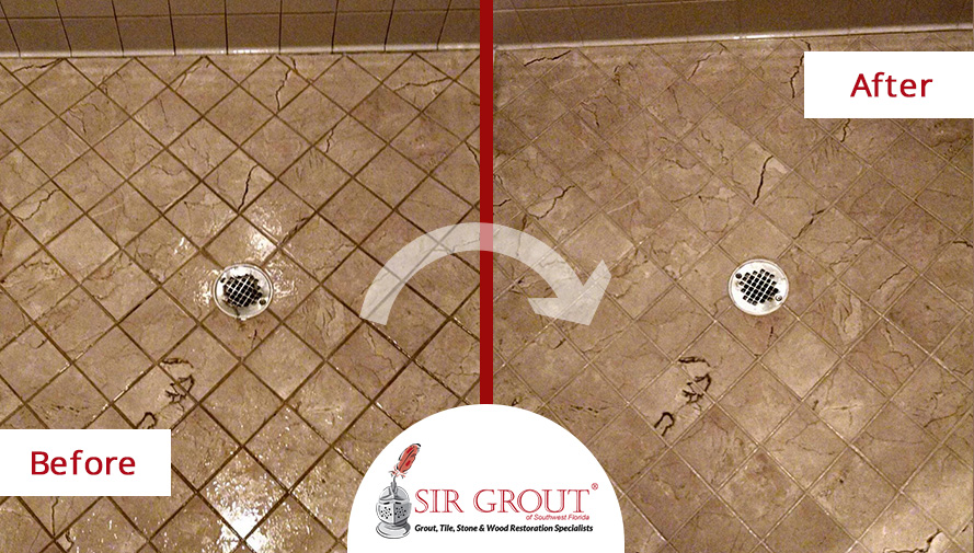 Before & After Picture of a Shower Grout Recoloring Service in Punta Gorda, Florida