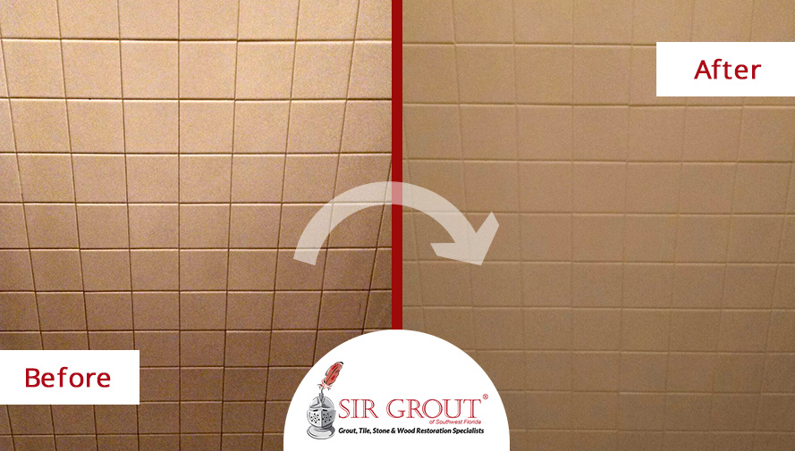 Before & After Picture of a Shower Wall Grout Recoloring Service in Punta Gorda, FL