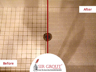 Before and After Picture of a Grout Cleaning in Naples, Florida