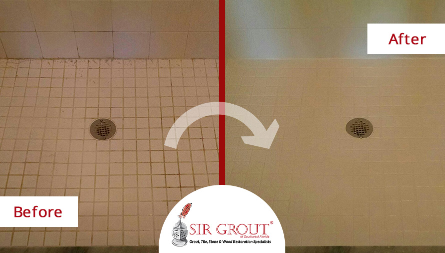 Before and After Picture of a Grout Cleaning in Naples, FL