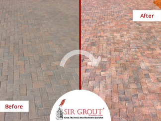 Before and After Picture of a Stone Sealing Service in Fort Myers, Florida