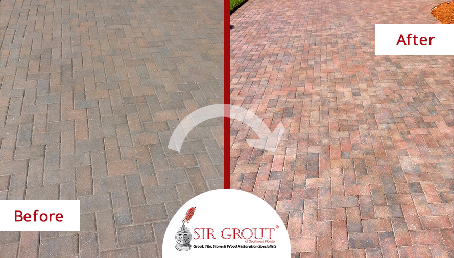 Before and After Picture of a Stone Sealing Service in Fort Myers, FL