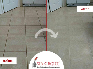 Before and After Picture of a Grout Sealing Service in Punta Gorda, FL