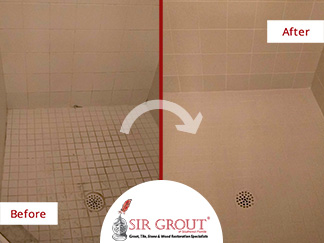 Before and After Picture of a Grout Cleaning Service in Estero, FL
