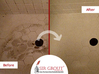 Before and After Picture of a Tile and Grout Cleaning Service in Fort Myers, FL