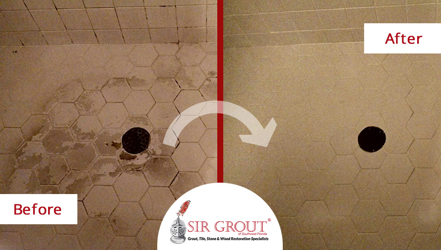 Before and After Picture of a Tile and Grout Cleaning in Fort Myers, Florida