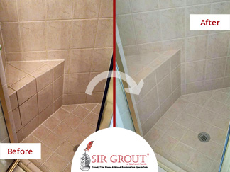 Before and After Picture of a Grout Cleaning Service in Naples, Florida