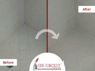 Before and After Picture of a Grout Sealing in Cape Coral, FL