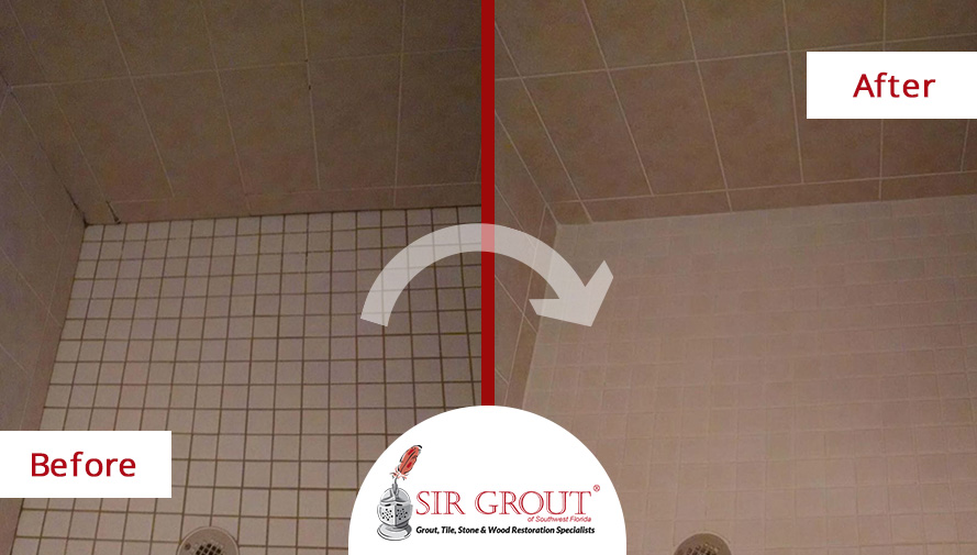 Before and After Picture of a Grout Cleaning Service in Port Charlotte, FL