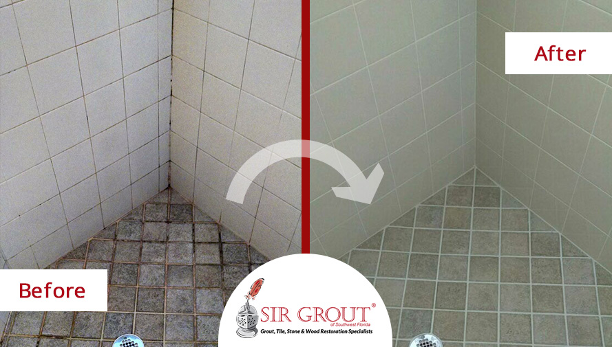 Superbe Before And After Picture Of A Grout Cleaning Service In Fort Myers, FL