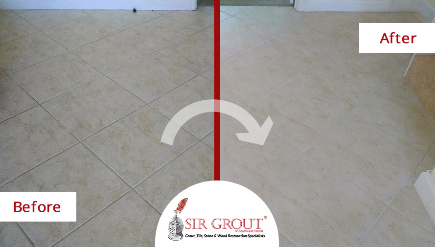 Before and After Picture of a Grout Cleaning Service in Fort Myers, FL