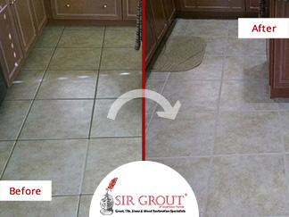Before and After Picture of a Dirty Grout in Bonita Springs, Florida