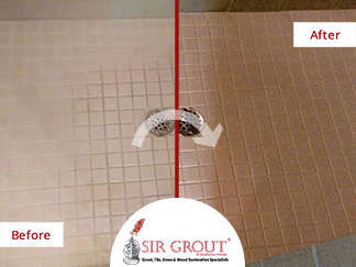 Before and After Picture of a Stained Tile Shower Floor in Bonita Springs, Florida