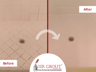 Before and After Picture of a Shower Grout Cleaning Service in Naples, FL
