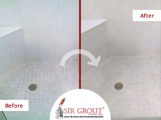 Before and After Picture of a Shower Tile and Grout Cleaning in Fort Myers, FL
