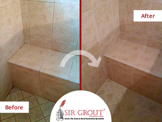 Before and after of This Bathroom Completely Overhauled with a Sealing Grout Job in Naples, Florida