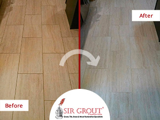 Before and after of This Hard Surface Restoration with a Grout Cleaning Assistance in Cape Coral, Florida