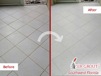 Before and after of a Grout Cleaning Job in Naples, Fl This Dirty Floor Was Fully Restored in Just One Day