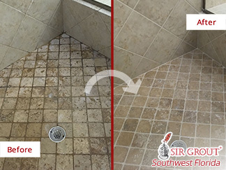 Before and after Picture of This Grout Cleaning Job Done in Naples, FL, This Shower Is Now Free from Soap Scum
