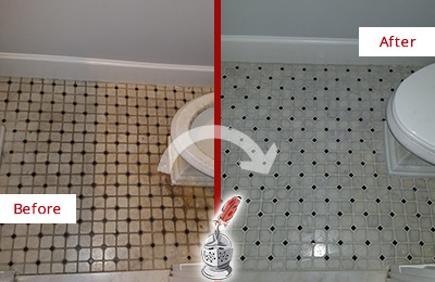Before and After Picture of a Grove City Bathroom Tile and Grout Cleaned to Remove Stains