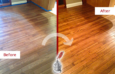 Before and After Picture of a Chokoloskee Wood Sandless Refinishing Service on a Dull Floor to Recover Its Sheen