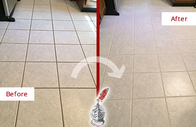 Before and After Picture of a Bokeelia Kitchen Ceramic Floor Sealed to Protect From Dirt and Spills