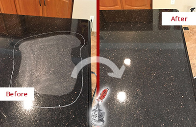 Before and After Picture of a Captiva Granite Kitchen Countertop Honed to Eliminate Scratch