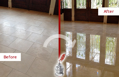 Before and After Picture of a Gateway Hard Surface Restoration Service on a Dull Travertine Floor Polished to Recover Its Splendor