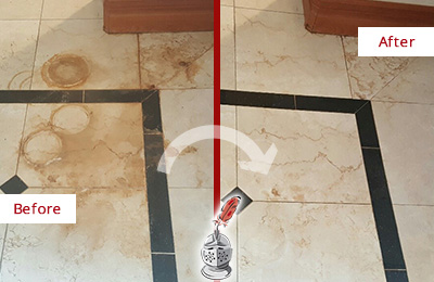 Before and After Picture of a Port Charlotte Hard Surface Restoration Service on a Marble Floor to Eliminate Rust Stains