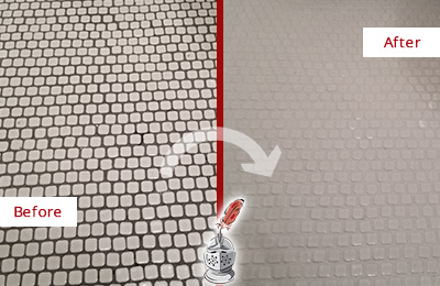 Before and After Picture of a Gateway Hard Surface Restoration Service on a Bathroom Tile Floor Recolored to Fix Grout Color