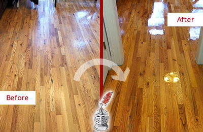 Before and After Picture of a Gateway Hard Surface Restoration Service on a Worn Out Wood Floor