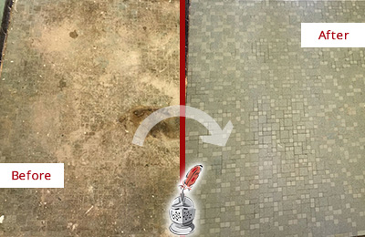 Before and After Picture of a Cypress Lake Mosaic Shower Cleaned to Eliminate Embedded Dirt
