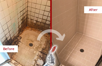 Before and After Picture of a Cypress Lake Ceramic Shower Cleaned to Remove Grime