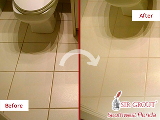 Before and after Picture of This Ivory Floor Fully Restored after a Grout Cleaning Job Done by Our Team in Naples, Florida