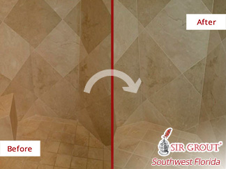 Before and after Picture of This Marble Shower after a Grout Cleaning Job in Fort Myers, FL