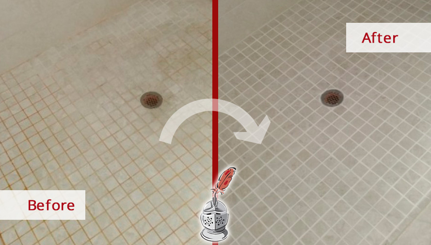 Before and after Picture of This Shower after a Grout Cleaning Job in Naples, FL