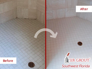 Before and after Picture or This Shower with a New Appearance after a Grout Cleaning Job in Naples, FL