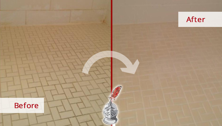Before and after Picture of a Master Bathroom after a Grout Cleaning Job in Bonita Springs, FL