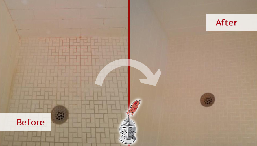 Before and after Picture of This Shower after a Grout Cleaning Service in Bonita Springs, FL