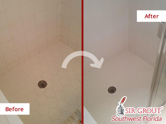 Before and After Picture of a Master Shower Grout Cleaning Service in Fort Myers, FL