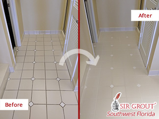 Before and After Picture of a Tile and Grout Cleaning Job in Fort Myers, FL