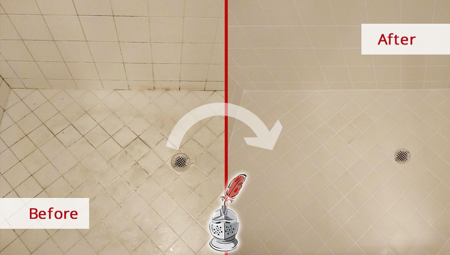 Shower Floor Before and After Our Hard Surface Restoration in Naples, FL