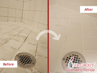 Picture of a Shower Before and After Our Hard Surface Restoration Services in Naples, FL