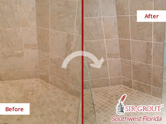 Before and After Picture of Grout Recoloring in Bonita Springs, FL.