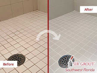 Before and After Image of Grout Cleaning in Fort Myers, FL.