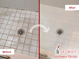 Picture of a Shower Before and After a Grout Sealing Service in Fort Myers, FL